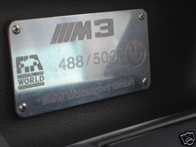 1988 BMW e30 M3 EVO II For Sale Dash Plaque